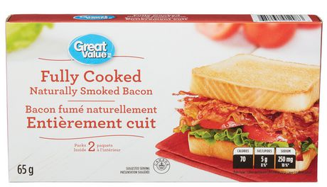 Great Value Fully Cooked Naturally Smoked Bacon - image 1 of 2
