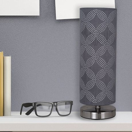 hometrends Cylinder Table Lamp with Gray Dotted Pattern on Shade - image 1 of 4