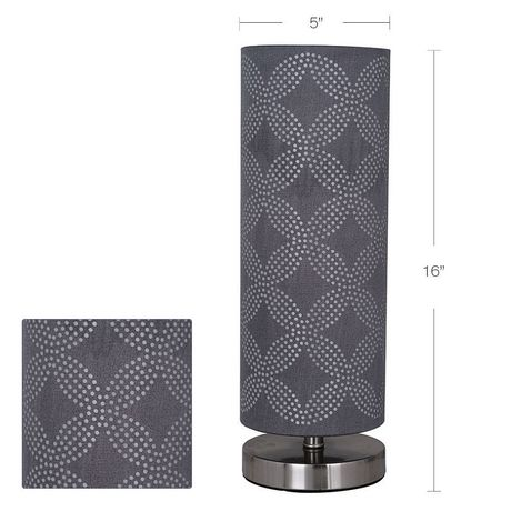 hometrends Cylinder Table Lamp with Gray Dotted Pattern on Shade - image 2 of 4