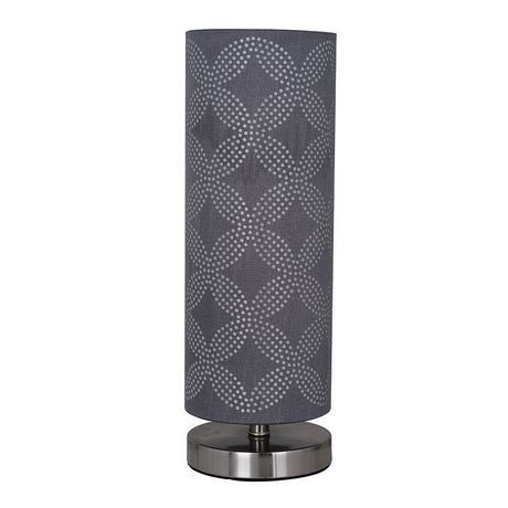 hometrends Cylinder Table Lamp with Gray Dotted Pattern on Shade - image 3 of 4
