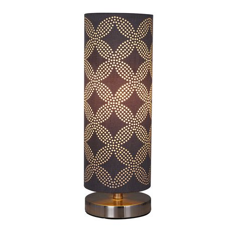 hometrends Cylinder Table Lamp with Gray Dotted Pattern on Shade - image 4 of 4