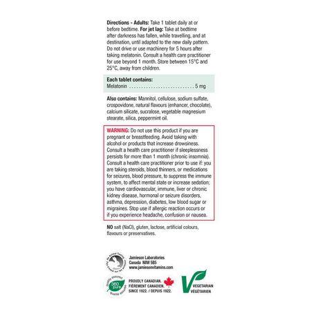 Jamieson Melatonin Fast Dissolving Chocolate Mint Tablets, 5 mg - image 5 of 7