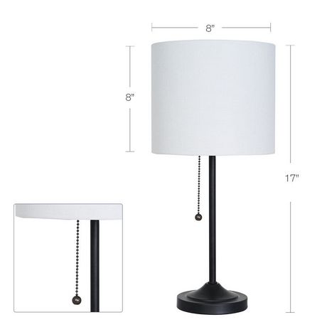 hometrends Matte Black Stepped Base Table Lamp with White Shade - image 2 of 4