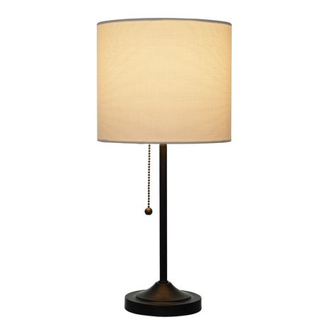 hometrends Matte Black Stepped Base Table Lamp with White Shade - image 3 of 4