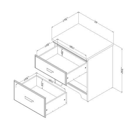 Versa Table de chevet 2 tiroirs , de Meubles South Shore - image 2 de 5