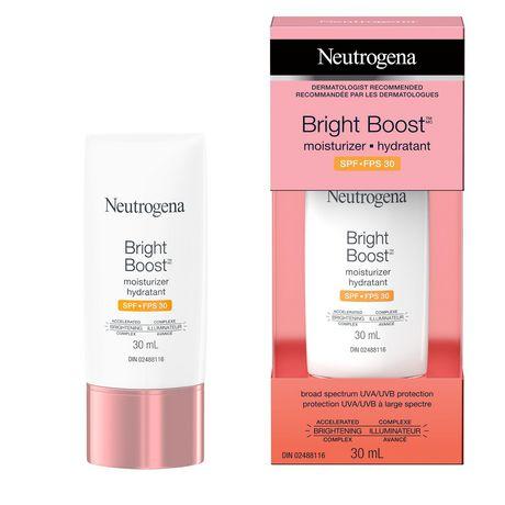 Hydratant pour le visage Neutrogena Bright Boost avec protection solaire UVA/UVB à large spectre, FPS 30, Anti-âge, Crème illuminante pour le visage avec vitamines C et E, Neoglucosamine, Graines de moringa, 30 ml - image 1 de 6