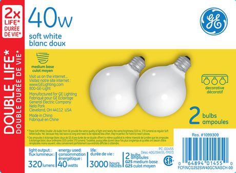 GE Lighting Canada 40 Watt G25 Soft White Bulbs Walmartca