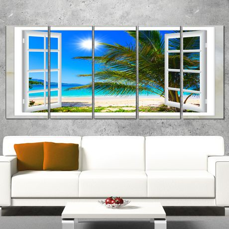 tableau imprim sur toile design art regarde la plage avec paume en format tr s grand walmart. Black Bedroom Furniture Sets. Home Design Ideas