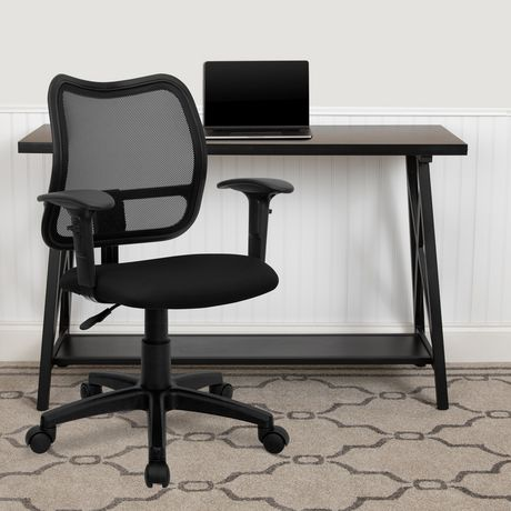 Mid-Back Black Mesh Swivel Task Office Chair with Adjustable Arms - image 2 of 4
