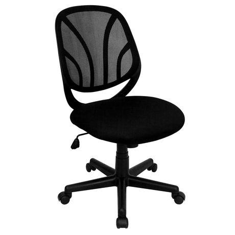 Chaise de travail Y-GO pivotante en maille noire à dossier mi-hauteur - image 1 de 4