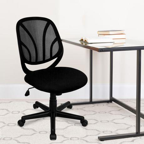 Chaise de travail Y-GO pivotante en maille noire à dossier mi-hauteur - image 2 de 4