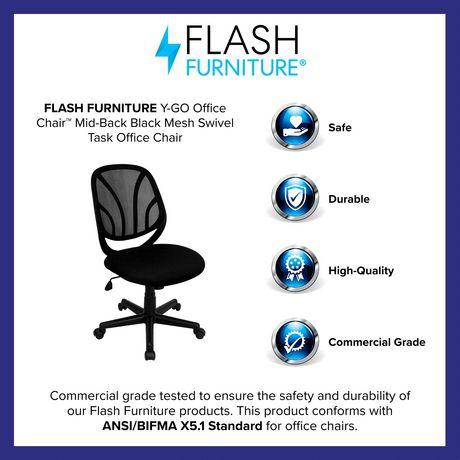 Chaise de travail Y-GO pivotante en maille noire à dossier mi-hauteur - image 4 de 4