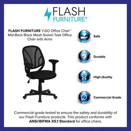 Black Mesh Swivel Task Office Chair, Is Flash Furniture Good Quality