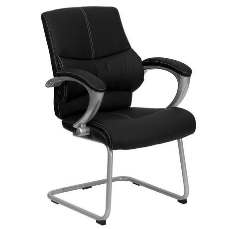 Chaise de réception exécutive auxiliaire en cuir noir avec base traîneau argentée - image 1 de 4