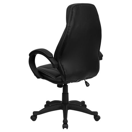 High Back Black Leather Contemporary Executive Swivel Chair with Curved Back and Loop Arms - image 4 of 4