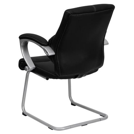 Chaise de réception exécutive auxiliaire en cuir noir avec base traîneau argentée - image 3 de 4