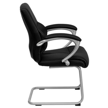 Chaise de réception exécutive auxiliaire en cuir noir avec base traîneau argentée - image 4 de 4