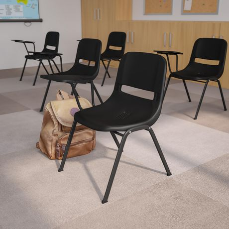 Black Ergonomic Shell Chair with Right Handed Flip-Up Tablet Arm - image 2 of 4