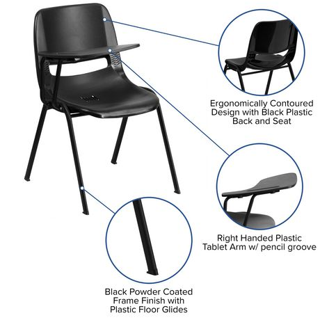 Black Ergonomic Shell Chair with Right Handed Flip-Up Tablet Arm - image 4 of 4