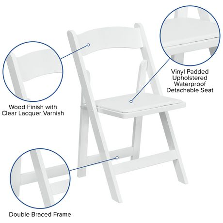 Flash Furniture Hercules Series White Wood Folding Chair with Vinyl Padded Seat - image 5 of 7