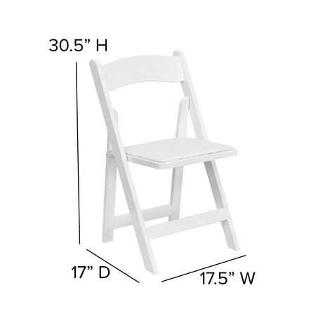 Flash Furniture Hercules Series White Wood Folding Chair with Vinyl Padded Seat - image 6 of 7