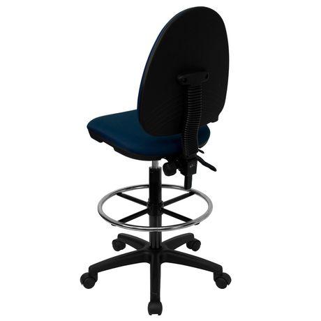 Chaise de dessinateur ergonomique multifonctions en tissu bleu marine à dossier mi-hauteur avec soutien lombaire ajustable - image 2 de 4