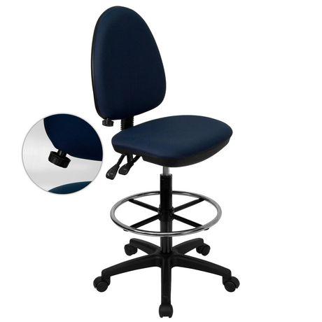 Chaise de dessinateur ergonomique multifonctions en tissu bleu marine à dossier mi-hauteur avec soutien lombaire ajustable - image 1 de 4