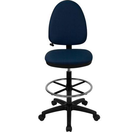 Chaise de dessinateur ergonomique multifonctions en tissu bleu marine à dossier mi-hauteur avec soutien lombaire ajustable - image 4 de 4