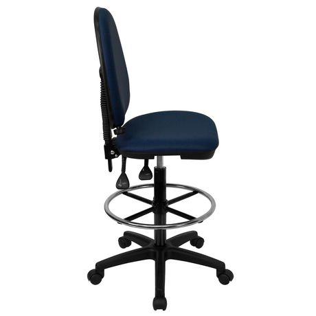 Chaise de dessinateur ergonomique multifonctions en tissu bleu marine à dossier mi-hauteur avec soutien lombaire ajustable - image 3 de 4