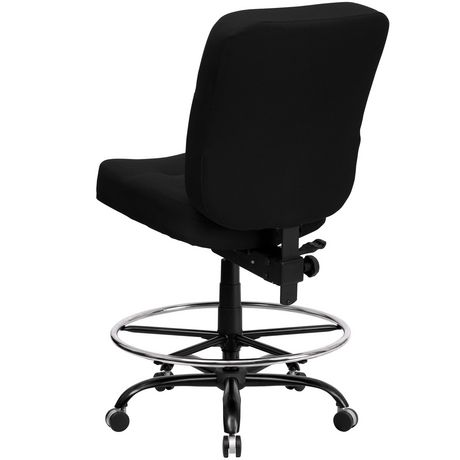 HERCULES Series Big & Tall 400 lb. Rated Black Fabric Drafting Chair with Rectangular Back - image 3 of 4