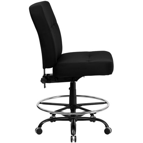 HERCULES Series Big & Tall 400 lb. Rated Black Fabric Drafting Chair with Rectangular Back - image 4 of 4