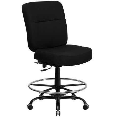 HERCULES Series Big & Tall 400 lb. Rated Black Fabric Drafting Chair with Rectangular Back - image 1 of 4
