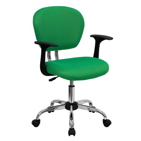 Mid-Back Bright Green Mesh Padded Swivel Task Chair with Chrome Base and Arms - image 1 of 4