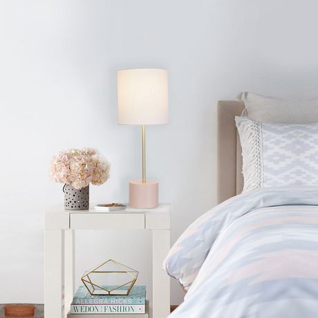 hometrends Block Table Lamp with Blush Base And Brass Accents - image 1 of 3