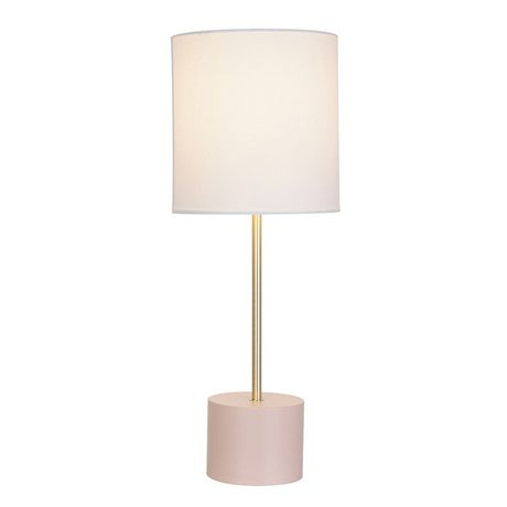 hometrends Block Table Lamp with Blush Base And Brass Accents - image 3 of 3