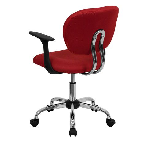 Mid-Back Red Mesh Padded Swivel Task Chair with Chrome Base and Arms - image 4 of 4