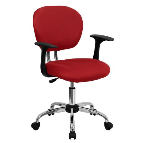 Mid-Back Red Mesh Padded Swivel Task Chair with Chrome Base and Arms - image 1 of 4
