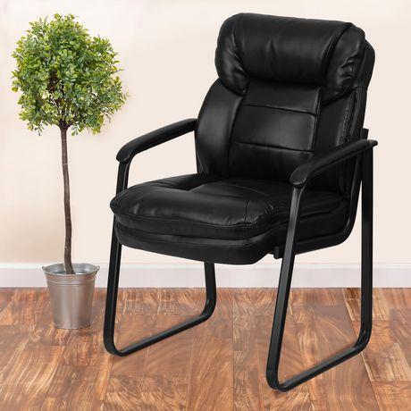 Chaise de réception exécutive auxiliaire en cuir noir avec soutien lombaire et base traîneau - image 2 de 4