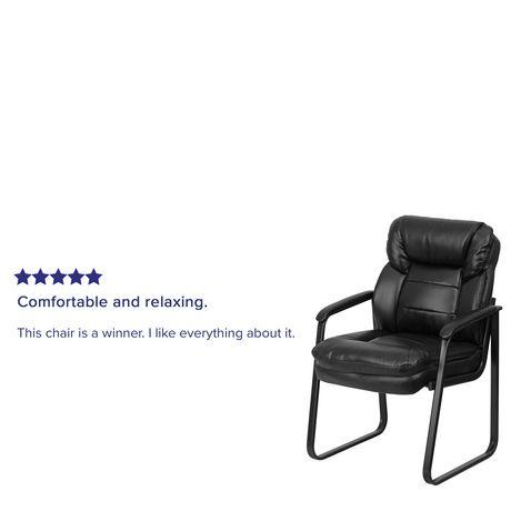 Chaise de réception exécutive auxiliaire en cuir noir avec soutien lombaire et base traîneau - image 4 de 4
