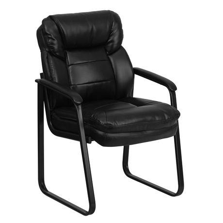 Chaise de réception exécutive auxiliaire en cuir noir avec soutien lombaire et base traîneau - image 1 de 4