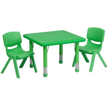 Ensemble de table d'activités carrée de 24 po en plastique vert à hauteur réglable avec 2 chaises - image 1 de 1