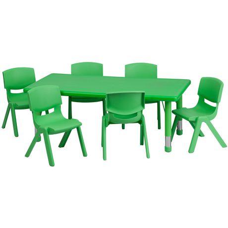 Ensemble de table d'activités rectangulaire de 24 po larg. x 48 po long. en plastique vert à hauteur réglable avec 6 chaises - image 1 de 1
