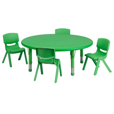 45'' Round Green Plastic Height Adjustable Activity Table Set with 4 Chairs - image 1 of 1