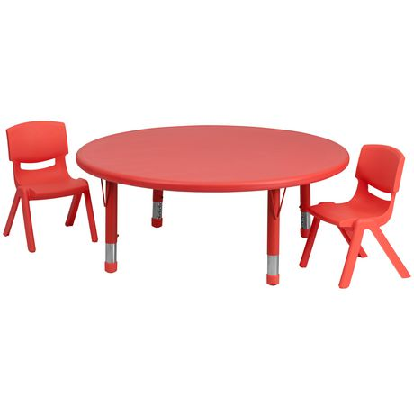 45'' Round Red Plastic Height Adjustable Activity Table Set with 2 Chairs - image 1 of 1