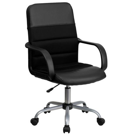 Set of 2 YOURLITE Swivel Mid Back Task Chair Adjustable Soft Leather Padded Office Chair Black