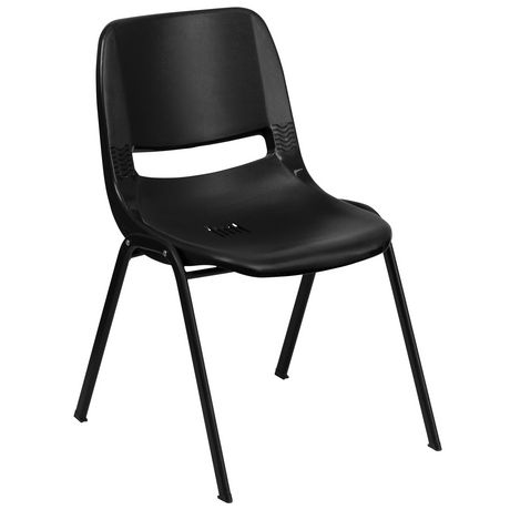 Flash Furniture Hercules Series 440 Lb. Capacity Black Ergonomic Shell Stack Chair With Black Frame And 12
