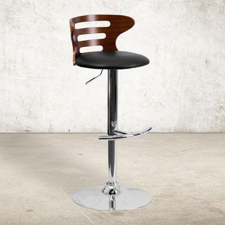 Tabouret de bar en bois noyer courbé avec dossier à trois fentes ajourées et siège en vinyle noir - image 2 de 4