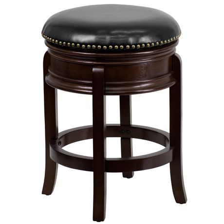 24'' High Backless Cappuccino Wood Counter Height Stool with Carved Apron and Black Leather Swivel Seat - image 1 of 1