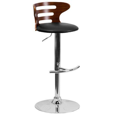 Tabouret de bar en bois noyer courbé avec dossier à trois fentes ajourées et siège en vinyle noir - image 1 de 4