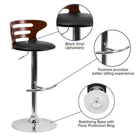 Tabouret de bar en bois noyer courbé avec dossier à trois fentes ajourées et siège en vinyle noir - image 4 de 4